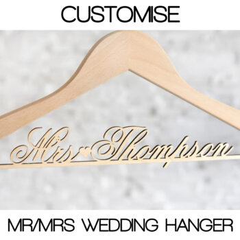 Customised Bride Wedding Hanger with Personalised Mrs Hanger Name
